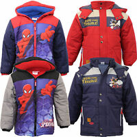 Marvel Disney boys spiderman mickey mouse jacket kids padded coat cartoon hooded