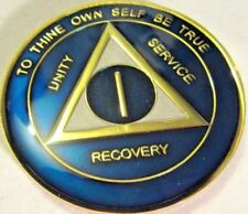 Blue alcohólicos anónimos 1 Año All American Medallón Moneda Token Chip sobriedad sobrio