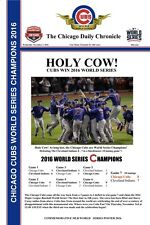 "2016 WORLD SERIES CHAMPIONS CHICAGO CUBS HEADLINES POSTER HOLY COW! - 12"" X 18"""