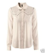 H&M PINK STUDDED BLOUSE TOP BUTTON SHIRT WESTERN FASHION 12 SEXY SPRING COUNTRY