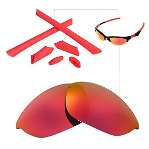 New Walleva Polarized Fire Red Lenses And Rubber Kit For Oakley Half Jacket