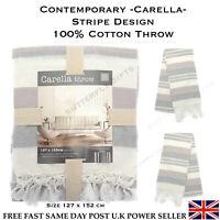 100% Cotton Throw Sofa Arm Chair Decorative Contemporary Design Natural Fibres