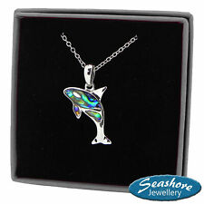 """Killer Whale Necklace Abalone Shell Orca Pendant Silver Fashion Jewellery 18"""""""