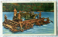 LINEN POSTCARD TRANSPORTING EQUIPMENT ON RIVER U.S. ARMORED DIVISION MILITARY
