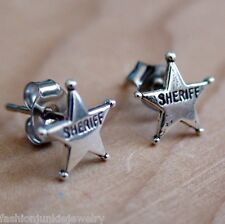 Sheriff Badge Earrings - 925 Sterling Silver - Texas Wild West Police Cop NEW
