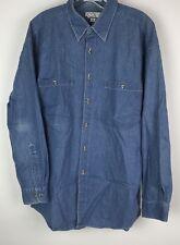 AXXA Mens Button Down Shirt Jean Long Sleeve Light Denim Blue Size 16 32-33 XL