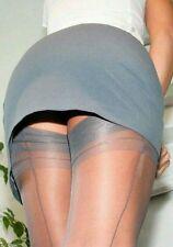 GIO Fully Fashioned Cuban Heel Seamed Stockings Pewter Platinum Grey 12.5 XXL