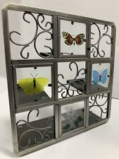 PartyLite Butterfly Tea Light Easel Style Candle Holder Glass & Metal 7.5� Sq.