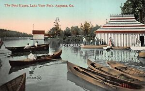 Augusta Georgia  - Early Card = Lake View Park Boat House