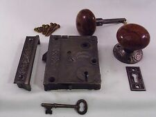Antique Rim Lock Door Knob Set box lock Civil War Era Norwalk 1863 #698