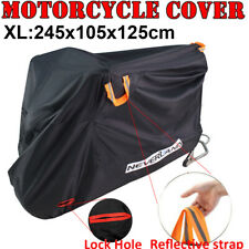 Motorcycle Covers for Outside Storage 190T Waterproof Motorbike Cover Heavy Duty Heatproof Motorcycle Accessories Shed Anti Dust Rain UV Motorcycle Shelter Indoor with Lock-holes Storage Bag Black 2XL