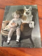 Glass Photo Girl Child German Shepherd Dog Doll Flue Cover Chimney