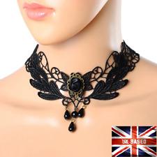 Gothic Black Lace Choker Necklace Punk Style Beads Collar Free Gift Bag UK