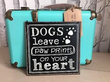 SASS & BELLE PAW PRINTS  DOG LOVE PET MEDIUM PUPPY PLAQUE SIGN HOME GIFT
