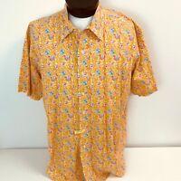Polo Ralph Lauren Orange Floral Hawaiian Short Sleeve Shirt Mens XXL Bright Loud