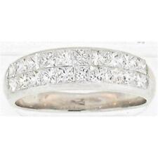 18K White Gold Wedding Band 1.95 Ct. Natural Princess Cut Diamonds