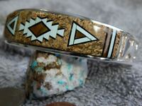 New  Sterling Silver Turquoise Multi Stone Inlay Bracelet Navajo Calvin Begay