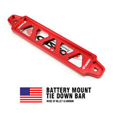 19.5cm CNC Aluminum Car Battery Tie Down Mount Bracket Brace Bar Universal Red