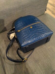 Tory Burch Croc-Embossed Leather Mini Backpack Color:Navy  Nwt