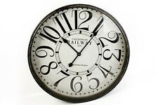 LARGE RUSTIC ANTIQUE BLACK IRON METAL CALEDONIAN RAILWAY ROUND WALL CLOCK