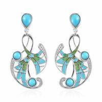 Dangle Drop Earrings 925 Sterling Silver Sleeping Beauty Turquoise Gift Ct 0.9