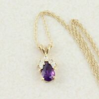"""14k Yellow Gold Natural Purple Amethyst Diamond Necklace 18"""" inch Chain"""