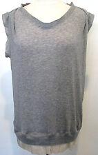 CLU Gray Sleeveless Tencel Top, Blouse With Gold Metallic Trim  Size M