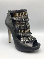 ALDO Leather Tassle Heels Boots Size 6 UK 39 Eur Black Gold Details
