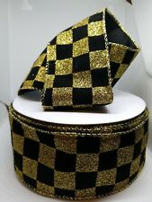 5 Yard Lot  Black And Gold Glitter Checked Ribbon 2.5 inches Wired Edge