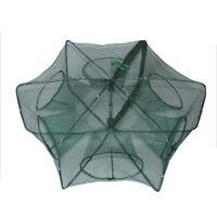 6 Holes Folded Hexagon Fishing Net Casting Crayfish Catcher Fish Trap Mesh DSfw