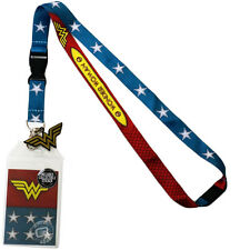 DC Comics Wonder Woman Suit Up Lanyard Sticker ID Badge Holder & Metal Charm New