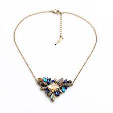 Collar Colgante Irregular Flor Ámbar Azul Conchas Gris Retro Antiguo FUN 4