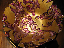 Arda Glassware 'Vanessa' Shallow Bowl, Antique Gold & Purple, Turkish Glass