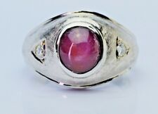 Men's 3.50ct Natural Star Ruby Diamond Accents 14K White Gold Ring Vintage