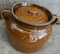 ANTIQUE BROWN CHESTNUT GLOSSY GLAZE 3 QT HANDLED BEAN POT CROCK RIBBED STONEWARE