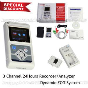 3 leads 24 hours ECG TLC9803 ECG/EKG Holter Monitor System,Dynamic ECG System CE