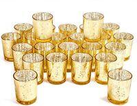 Votive Candle Holder Bulk Set Of 24 - Speckled Mercury Glass Tealight Candle Hol