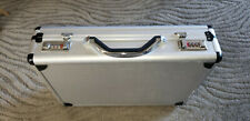 GORGEOUS SILVER ALUMINUM BRIEFCASE with COMBINATION LOCK