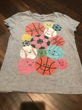 euc Old Navy Heather Gray Sports Ball SPORTY GRAPHIC T Girls Small S 6 7 tagless