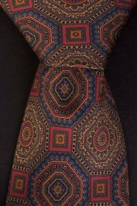 *** Ralph Lauren Tie Brown Geometric 100% Silk Made in USA *C180516