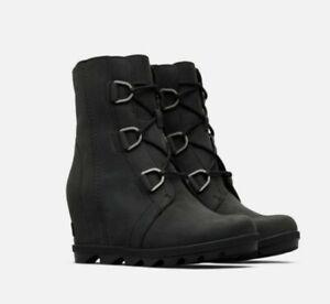 NIB $240 Sorel Womens Joan of Arctic Wedge ll Boot Waterproof Leather Black 10M
