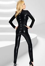 LUMIA Fetish Tuta Catsuit Full Body Manica Lunga Zentai con Bottoni Wetlook PVC