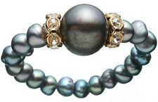 Real 7-8mm Black Freshwater Pearl 18KGP Crystal Stretchy Women Bangle Bracelet
