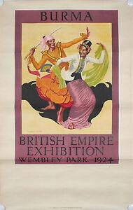 ANTIQUE ORIGINAL TRAVEL POSTER BRITISH EXHIBITION BURMA MYANMAR WEMBLEY 1924