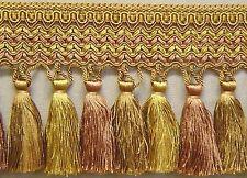 """6"""" Tassel Fringe antique gold rust brown Matched Cut Fringe Gimp Cord bullion"""