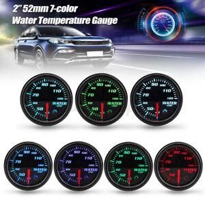 "Universal 2"" 52mm Black 7 Colors LED Water Coolant Temp Temperature Gauge 12V"