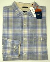 NWT $150 Tommy Bahama Blue Ivory Plaid LS Shirt Mens Flannel Corduroy NEW
