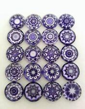 20 Violet Mandala cabochons - 12 mm-verre/Flatback/Lilas Gems-Mosaïque Cabochon