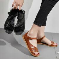 Women's Ladies Fashion Peep Toe Ankle Flat Heel Sandals Roman Casual Shoes Size