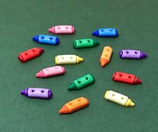 Crayon Buttons - Dress it Up Bright Kids Colouring Pencils - Scrapbooking Craft